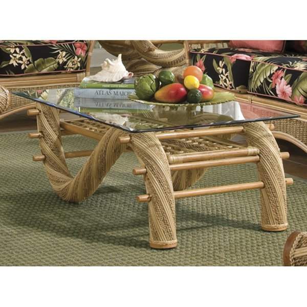 Spice Island Wicker Maui Twist Coffee Table with Glass Top by Yesteryear Wicker