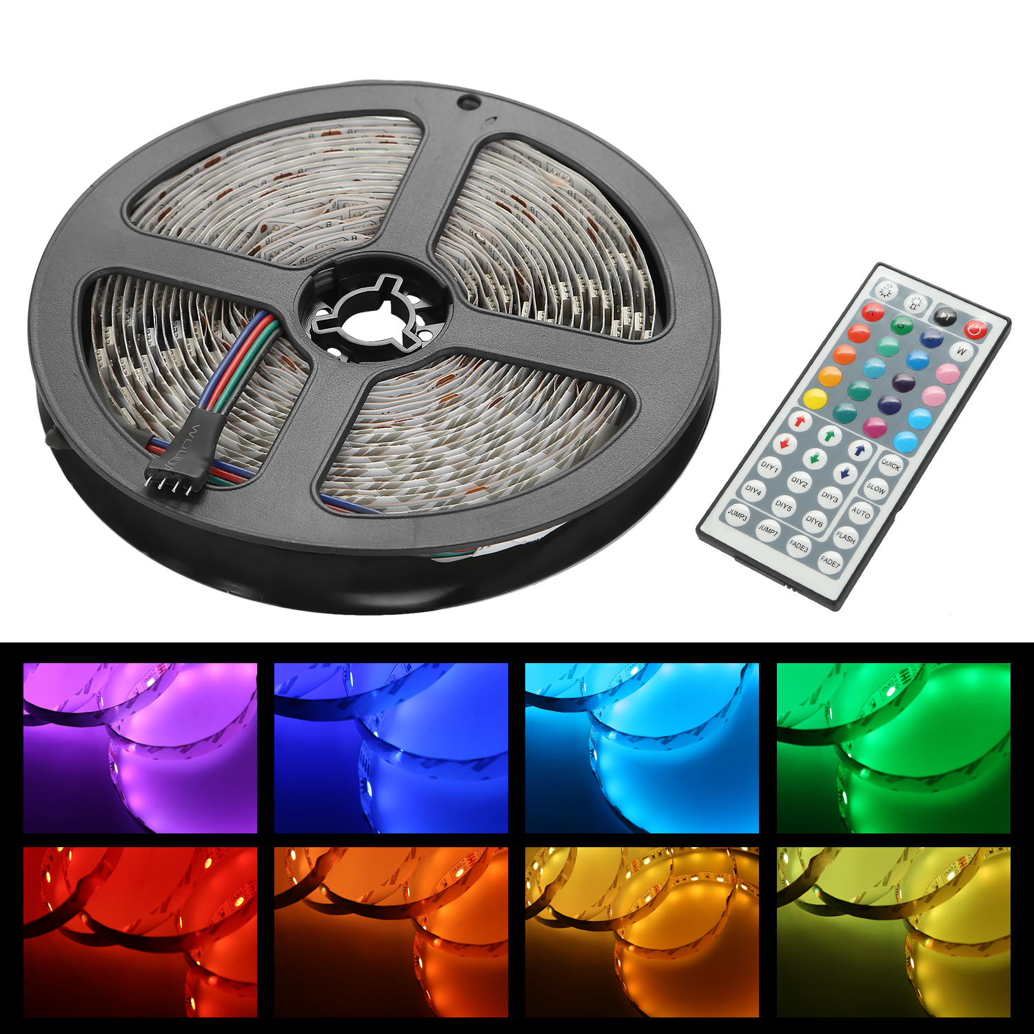 CoastaCloud Celebration Lighting 16.4ft 5M Rope Lights 300 LED 5050 SMD Color Changing RGB Flexible LED Strip Light with Music Function + 12V 6A Power Supply + Music Remote + IR Controller - Muliticol