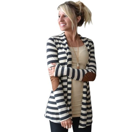 - Women Winter Long Sleeve Casual Stripe Pattern Lady Cotton Coat Cardigan