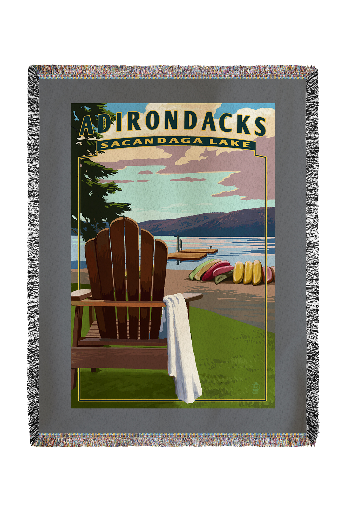Adirondack Mountains, New York Sacandaga Lake Adirondack Chair Lantern Press Artwork (60x80 Woven Chenille Yarn Blanket) by Lantern Press