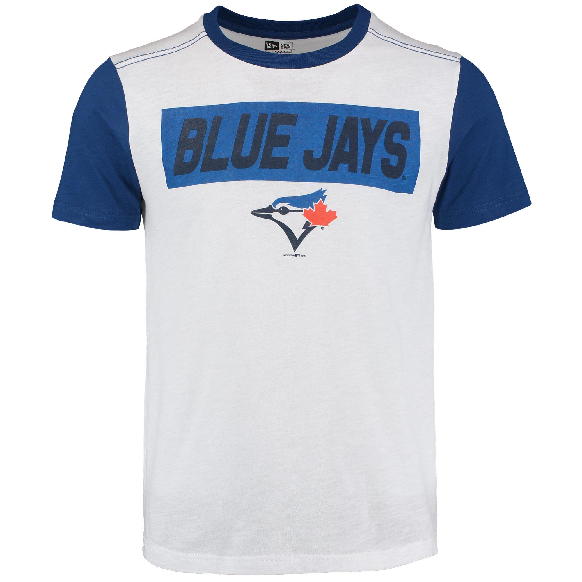 Toronto Blue Jays New Era Slub Crew Neck T-Shirt with Contrast Sleeves - White/Royal