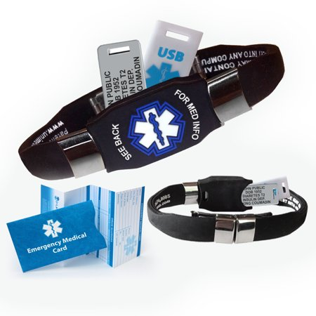 Medical Medical Id Bracelet - ELITE USB PLUS Medical Alert ID Bracelet and 2GB USB. Custom Engraved! Waterproof!