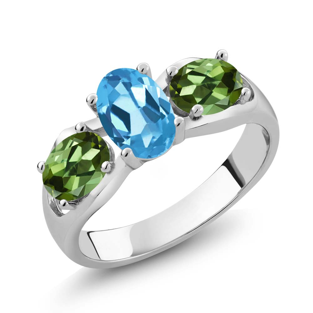 1.80 Ct Oval Swiss Blue Topaz Green Tourmaline 14K White Gold Ring by