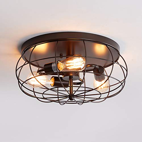 Oil Rubbed Bronze Flush Mount Ceiling Light 3 Light Industrial Metal Cage Ceiling Lighting Fxiture Walmart Canada