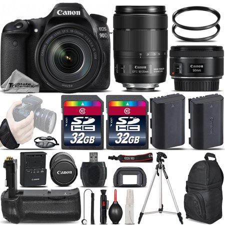 Canon EOS 90D Wi-Fi Full HD 4K30p Digital SLR Camera + Canon 18-135mm IS USM Lens + Canon 50mm 1.8 II Lens + Battery Grip. All Original Accessories Included