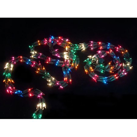 9 christmas light garland with 300 multi color mini lights green wire