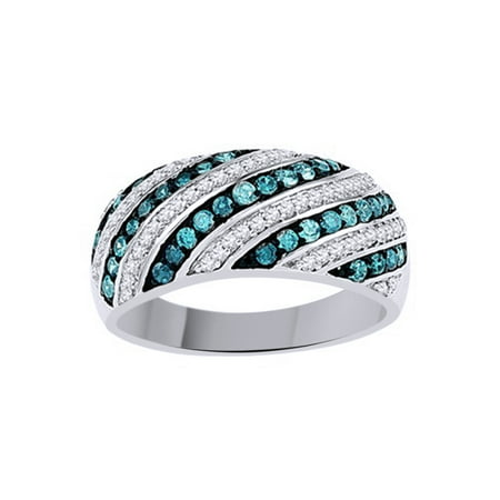 Blue & White Natural Diamond Fashion Ring In 10k White Gold (1 Cttw)
