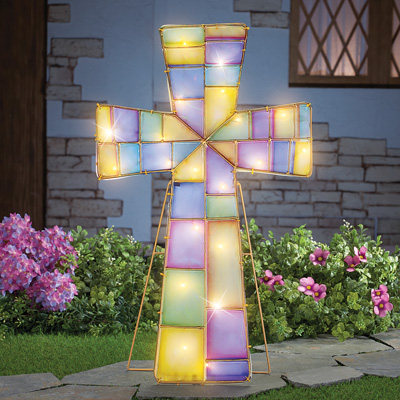 Lighted Easter Cross Outdoor Decoration