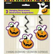 Pumpkin Boo Halloween Hanging Swirl Decorations, 3ct