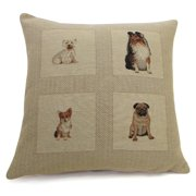 Corona Dcor Corona Decor French Woven Sitting Dog Design Cotton and Wool Decorative Pillow