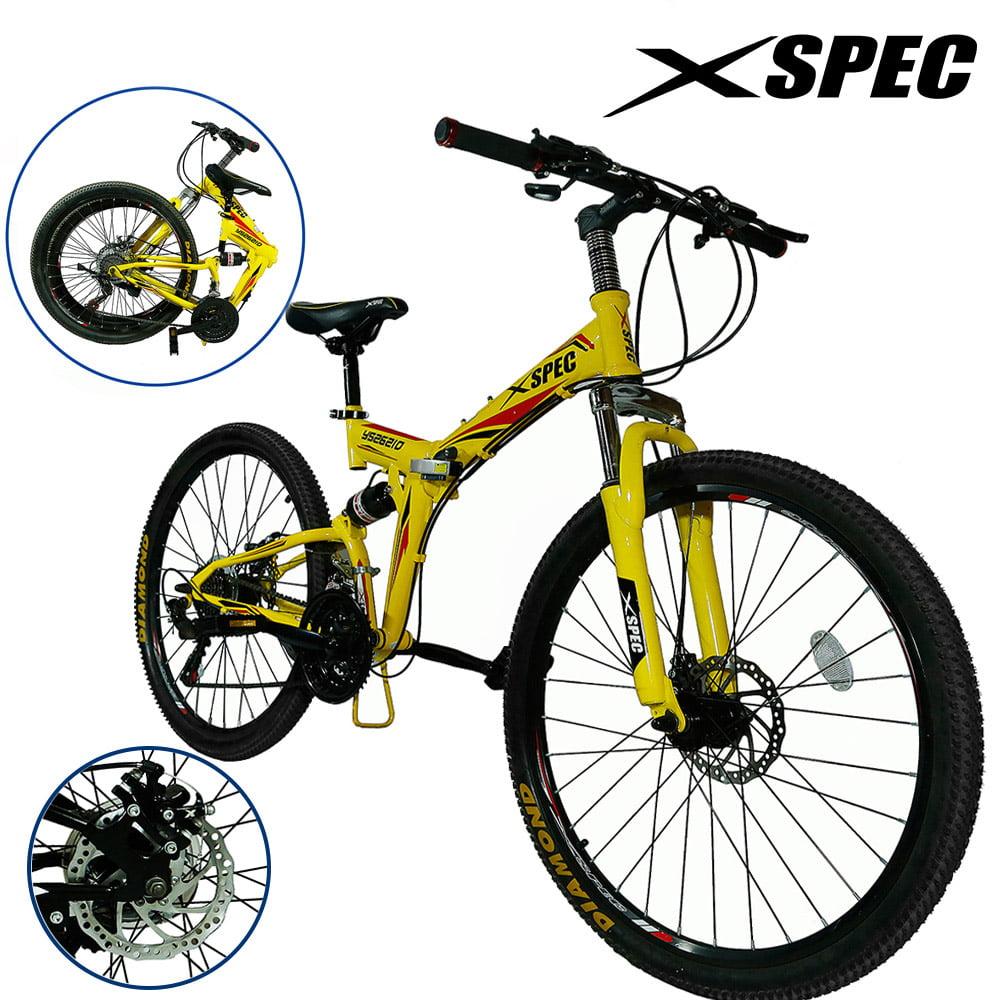 "Xspec 26"" 21 Speed Folding Mountain Bike Bicycle Trail Commuter Shimano"