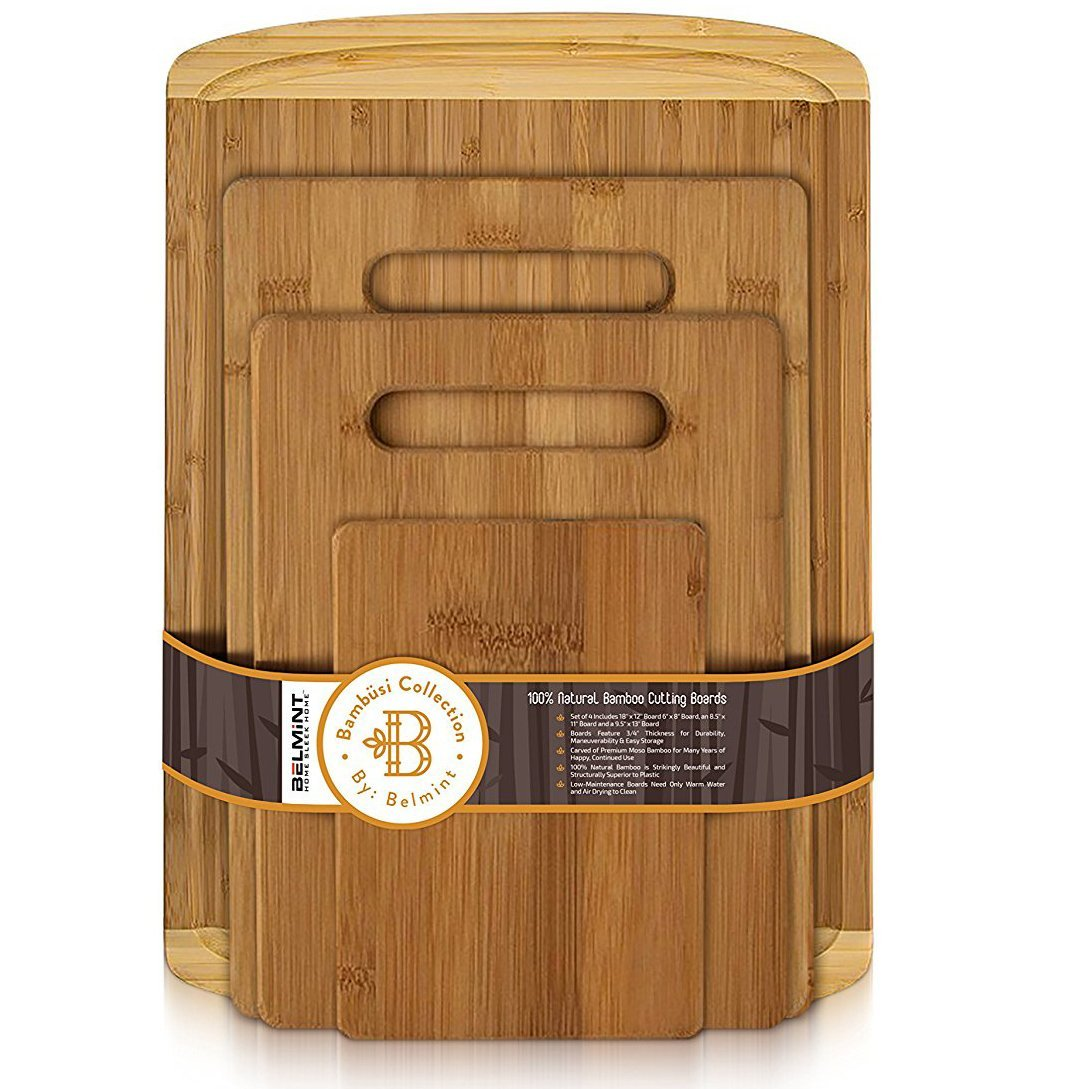Bamboo 4 Piece Cutting Board Set |Thick Board Comes With with Juice Groove