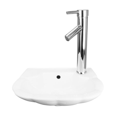 White Small Periwinkle Bathroom Wall Mount Sink