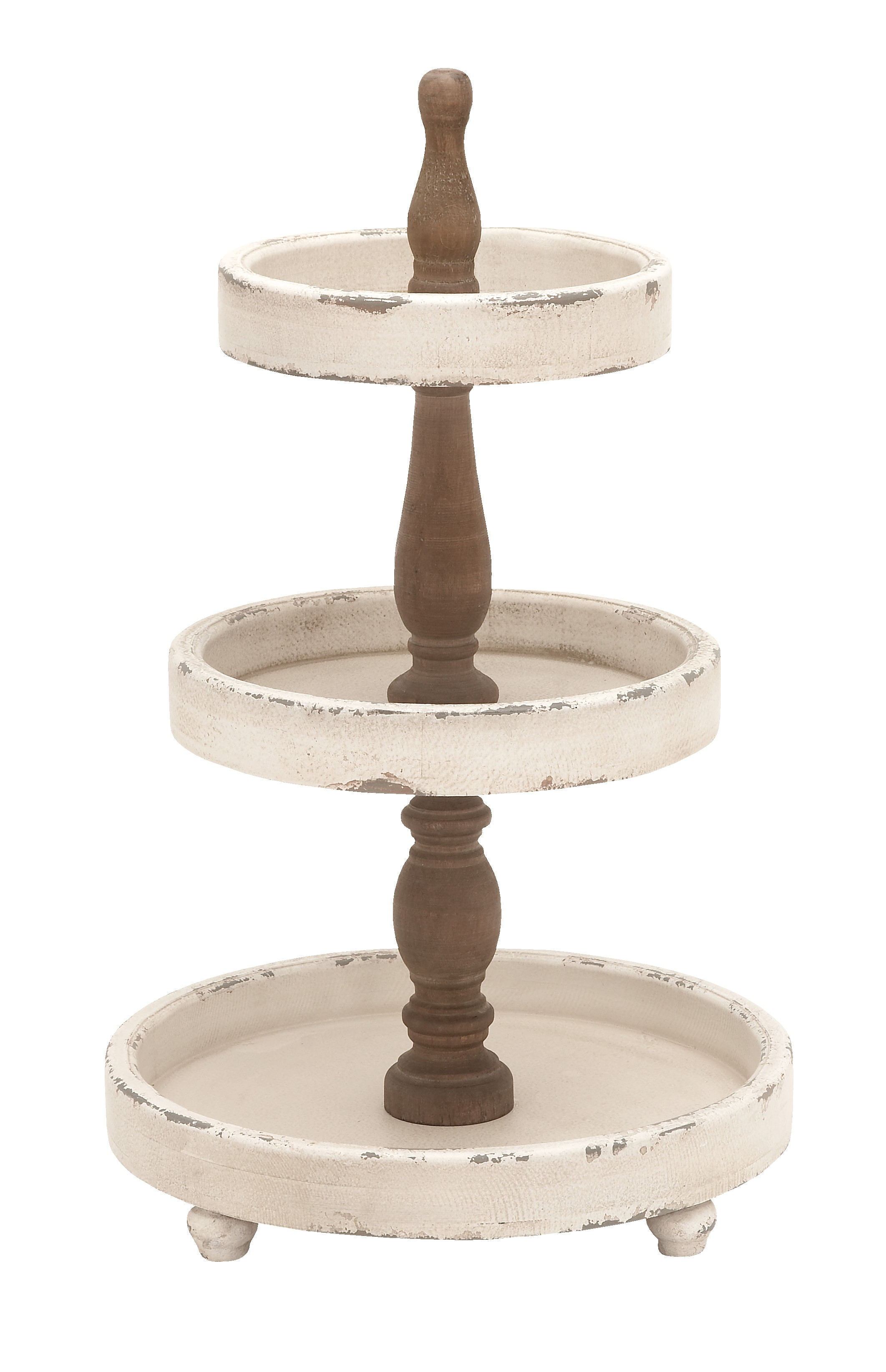 Shop Large, 3-Tier Distressed White and Natural Wood Round Serving Tray Stand from Walmart on Openhaus