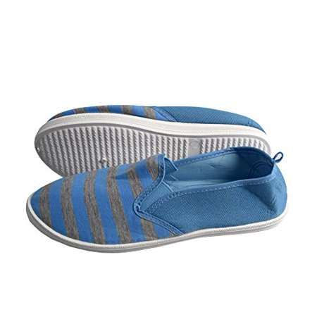 Peach Couture Striped Casual Summer Breathable Tennis Slip On Loafer Sneaker Shoes (7.5, Turquoise and Grey) - image 1 of 1