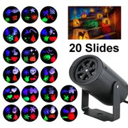 Christmas Projection Lights Rotating with 20 Multicolor Switchable Slides Indoor Lighting Gobo Spotlight Lawn Lights for Courtyard Wedding Party Halloween Easter Holiday
