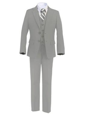 Boltini Italy Kids Formal Boys Suit Set - 5PC- Jacket, Shirt, Tie, Vest, Pants (Grey, 5)