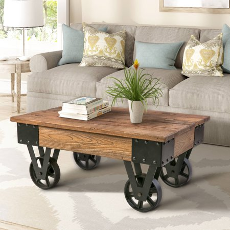 Harper&Bright Designs Solid Wood Coffee Table with Metal