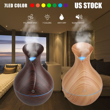 Aromatherapy Essential Oil Humidifier 130ml for Large Room, Home, Waterless Auto-Off, 7 Color LED Lights Wood Grain Ultrasonic Cool Mist