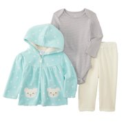 Little Wonders Infant Girls 3 PC Mouse Hoodie Jacket Creeper & Pants Set 12 MOS.