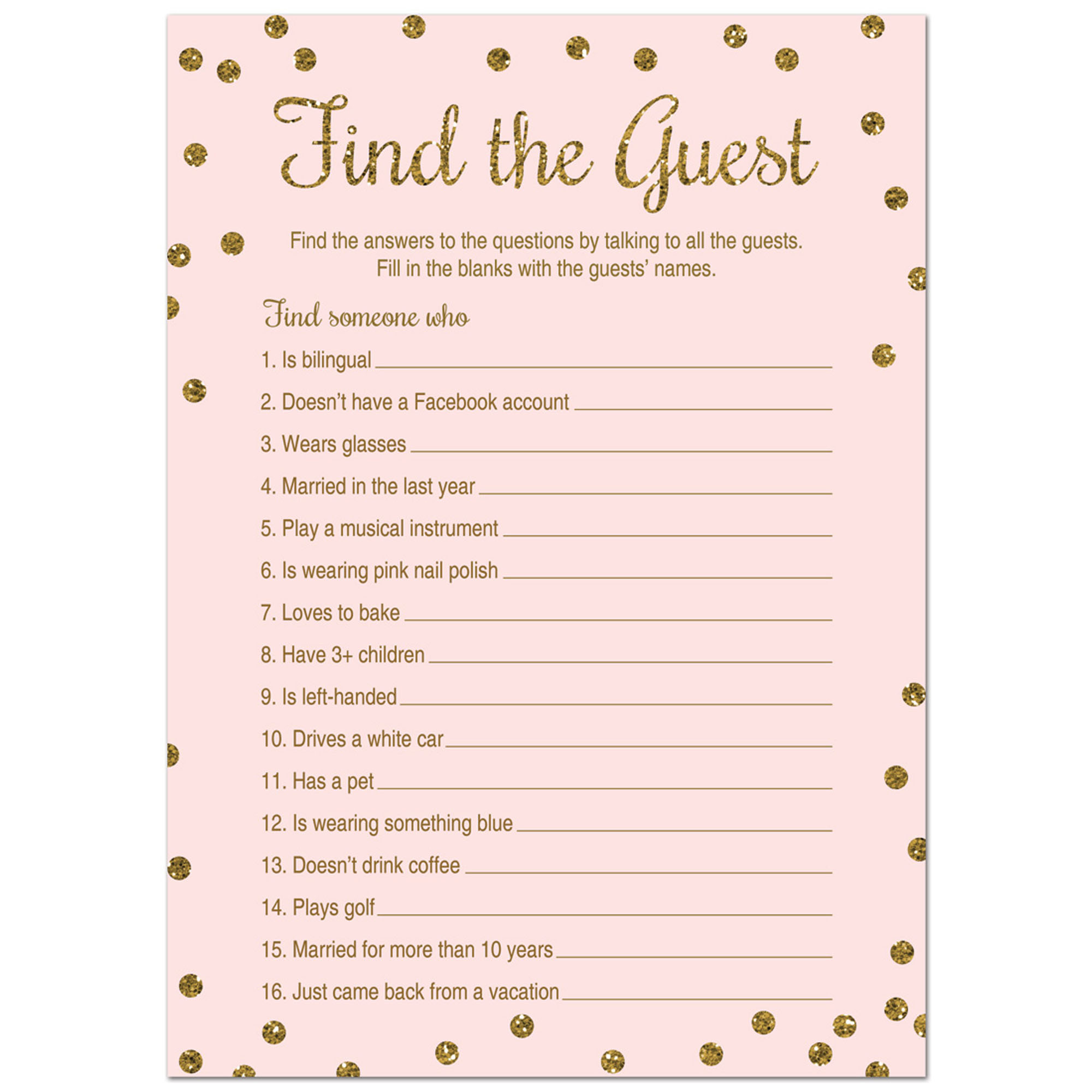 Find The Guest Shower Game -  Faux Gold Glitter on Pink - 24 Cards