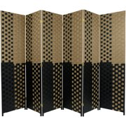 Oriental Furniture 6 Ft Tall Woven Fiber Room Divider, Tan/Black, 6 panel