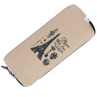 IPOW Vintage Canvas Pencil Case Coin Purse Pouch Cosmetic Makeup Bag Student Pen Stationery Holder Organizer Retro School Office Travel Multifuction Zipper Bag, Set of 4