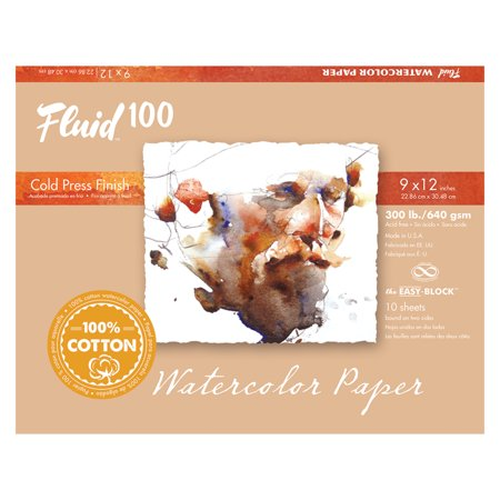 Global Art Fluid 100 Watercolor Paper Block, Cold Press, 9in x 12in, 10 Sheets/Block