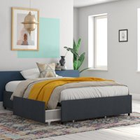 RealRooms Alden Platform Bed with Storage Drawers, TWIN, FULL, QUEEN, KING, Blue, Gray