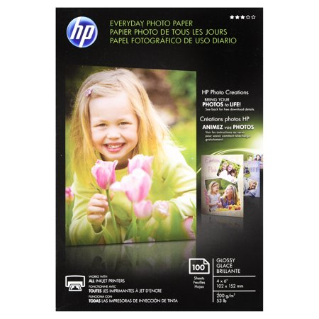 - HP Everyday Glossy Photo Paper, 53 lbs., 4 x 6, 100 Sheets/Pack