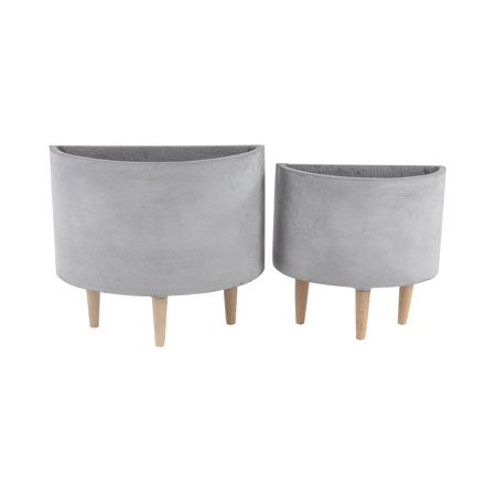 Decmode Farmhouse 15 And 17 Inch Half Circle Gray Wood, Ceramic And Fiber Clay Planters With Stands - Set of 2