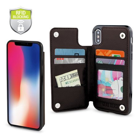 Gear Beast Genuine Leather iPhone X Wallet Case, Top View Flip Folio Case For iPhone X Slim Leather Cover With 4 Slot Card Holder Including ID Holder With RFID Protection For Men and