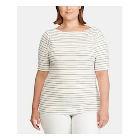 RALPH LAUREN Womens White Striped Boat Neck T-Shirt Top Size 2XS