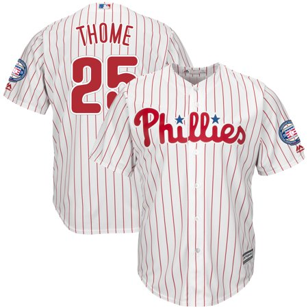 Jim Thome Philadelphia Phillies Majestic Hall of Fame Induction Patch Cool Base Jersey - White/Scarlet