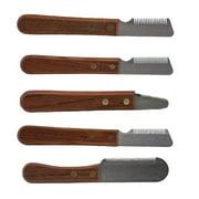 Dog Grooming Coat Fur Stripping Knife Stripper Trimmer Tool Rose Wood Handle (Full Set - All 5 Knives)