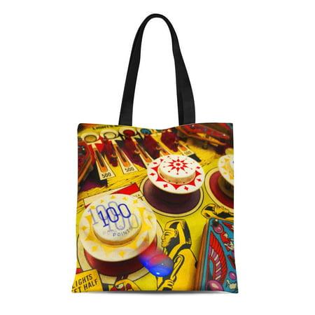 ASHLEIGH Canvas Tote Bag Cool Pinball Designer Gamer Retro Chic Best Reusable Handbag Shoulder Grocery Shopping