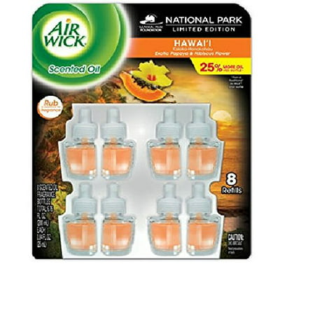 Air Wick Scented Oil Air Freshener, National Park Collection, 8 Refills, 0.67 fl oz Each (Hawaii)
