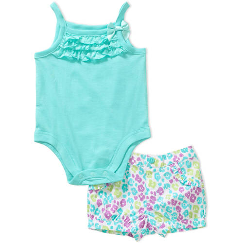 Garanimals Newborn Baby Girl Lace Ruffle Cami Bodysuit and Print Woven Short Outfit Set