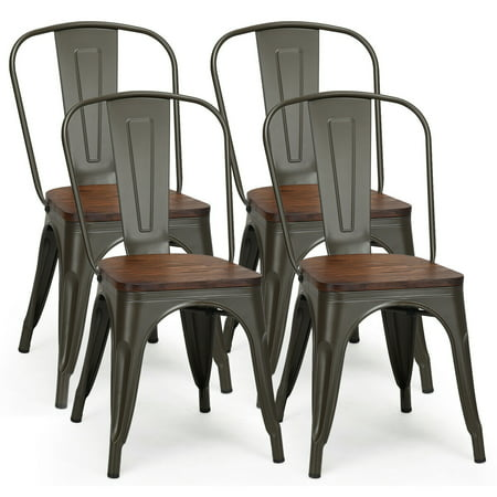 - Costway Set of 4 Style Metal Dining Side Chair Wood Seat Stackable Bistro Cafe