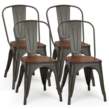 Costway Set of 4 Style Metal Dining Side Chair Wood Seat Stackable Bistro Cafe ()
