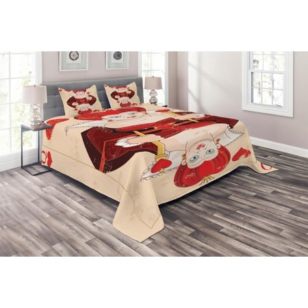 Alice In Wonderland Characters White Queen (Alice in Wonderland Coverlet Set, Queen Cards Playing Alice Character in Fictional Fairy Tale Print, Decorative Quilted Bedspread Set with Pillow Shams Included, Red Brown Ecru, by)