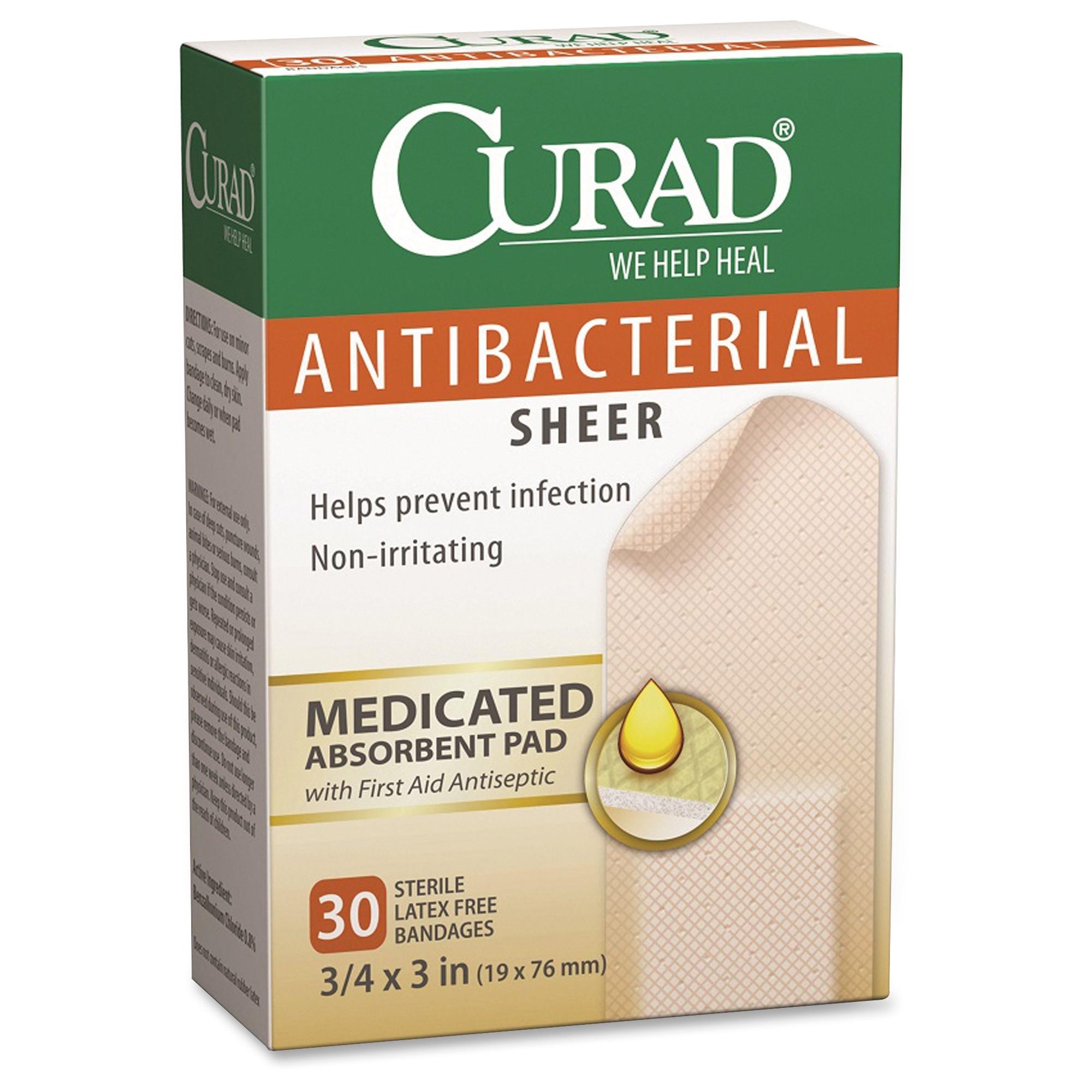 Curad Antibacterial Sheer Bandages - 30/box (cur022255)