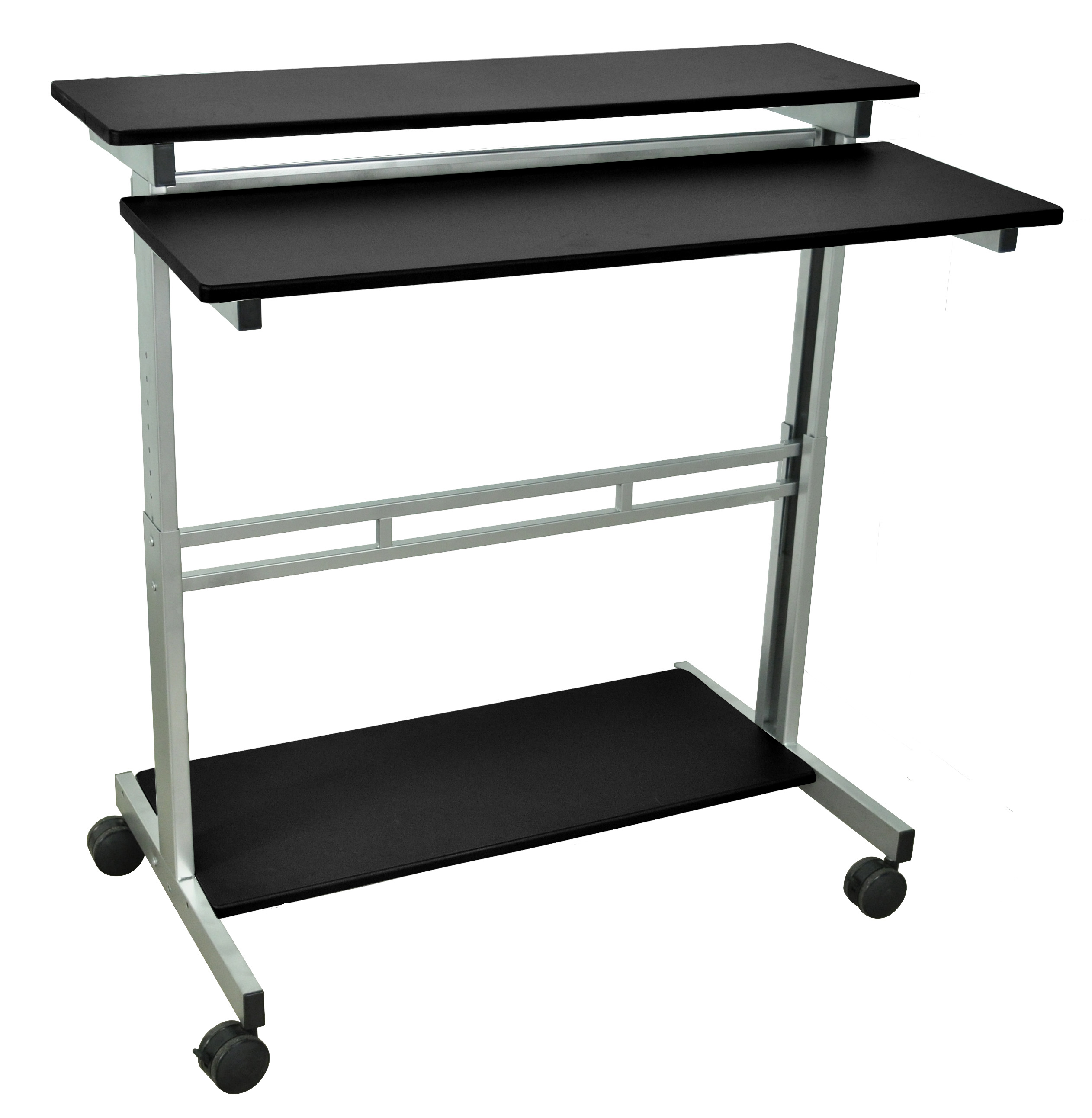 "Luxor 40"" Computer Laptop Stand Up Desk Workstation - Black, 1 Pack"