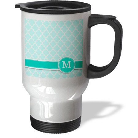 3dRose Personalized letter M aqua blue quatrefoil pattern Teal turquoise mint monogrammed personal initial, Travel Mug, 14oz, Stainless Steel - Personalized Photo Travel Mugs