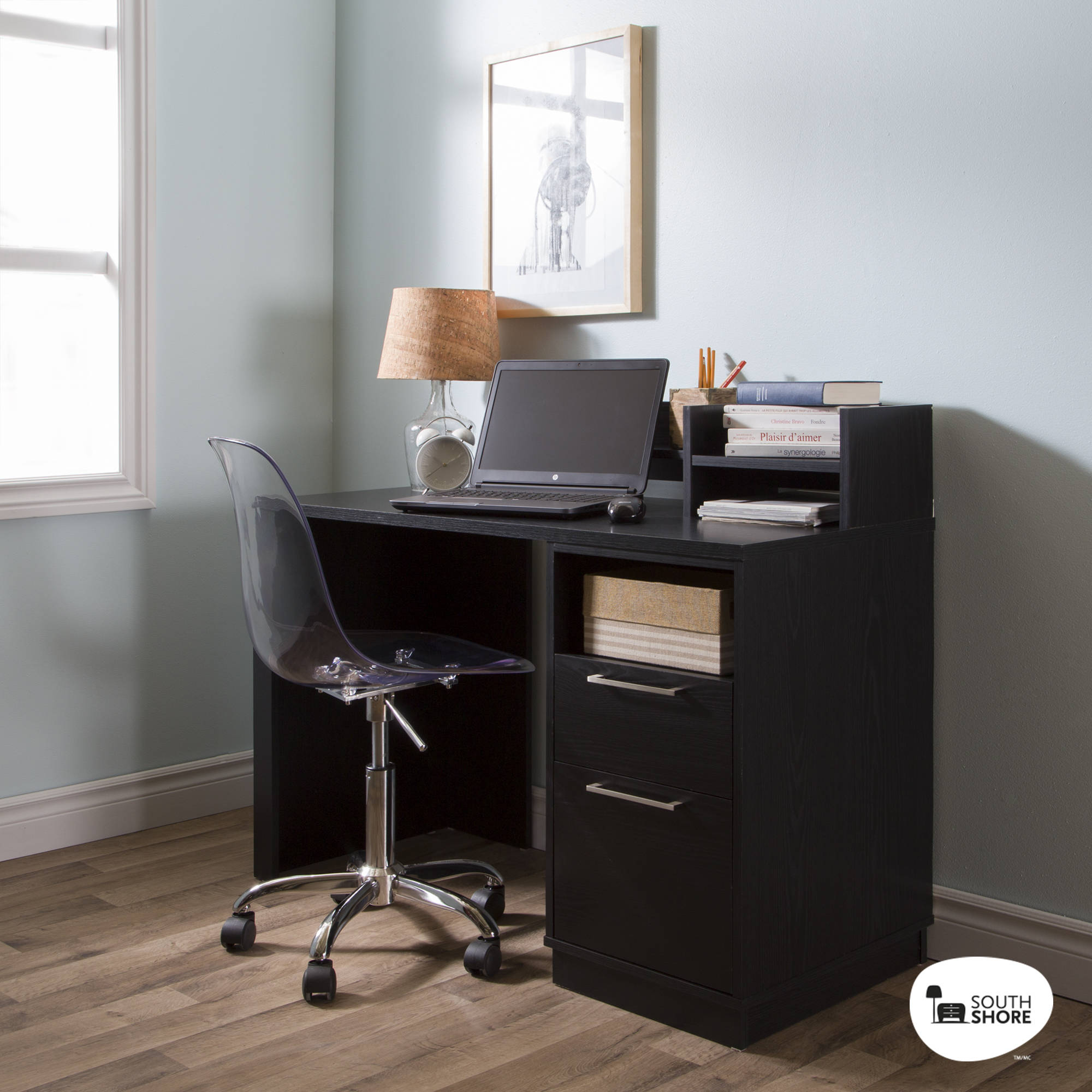 Office Desk With Drawers Black Oak Computer Study Table Laptop Home New