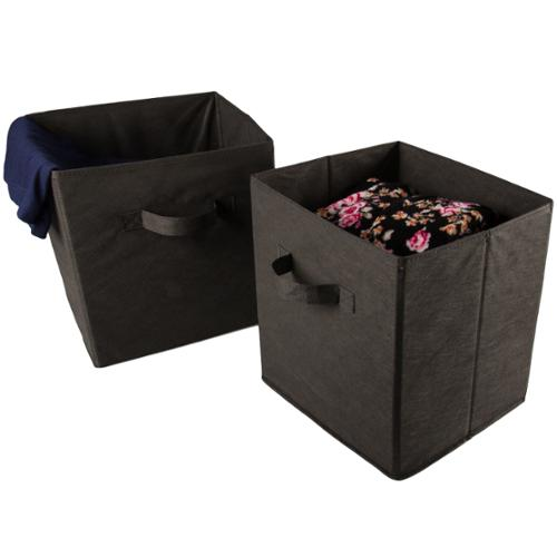 2 Large Foldable Fabric Storage Bins Cubes Home Organization Organizer Baskets BROWN