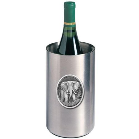 Elephant Wine Chiller   Double Wall Insulated Stainless Steel   Detailed Fine Pewter Medallion   1 Piece