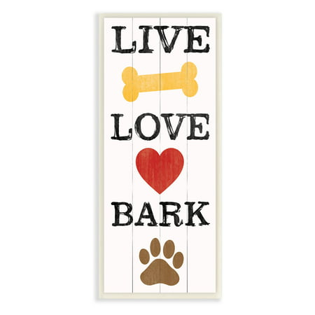 Live Well Plaque (Live Love Bark With Bone Heart And Paw Art Wall)