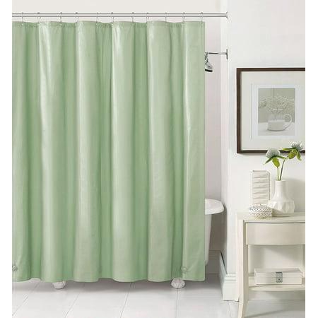 Sage PEVA 6 Gauge Shower Curtain Liner Mildew Resistant Chlorine Free Odorless Water Repellent Grommets And Magnets