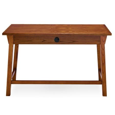 Mission Oak Writing Desk with Center - Oak Writing Desk